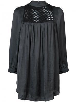 Рубашка с сетчатой вставкой и длинными рукавами Smythe. Цвет: чёрный