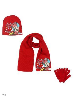 Комплект шапка, шарф и перчатки Sun City. Цвет: красный