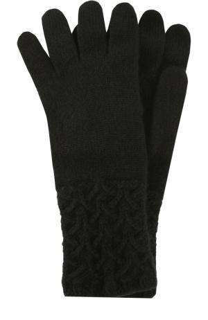 Перчатки из кашемира с фактурным узором Johnstons Of Elgin. Цвет: черный