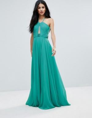 Forever Unique Платье макси с T-образной бретелью на спине. Цвет: зеленый