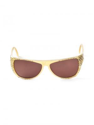 Овальные солнцезащитные очки Krizia Vintage. Цвет: жёлтый и оранжевый