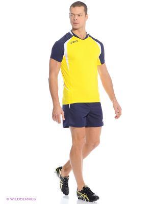 Комплект (футболка + шорты) SET TIGER MAN ASICS. Цвет: желтый, синий