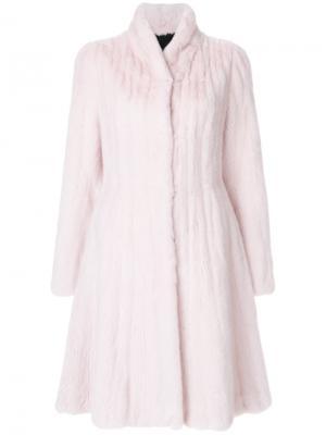 Шуба Liska. Цвет: розовый и фиолетовый