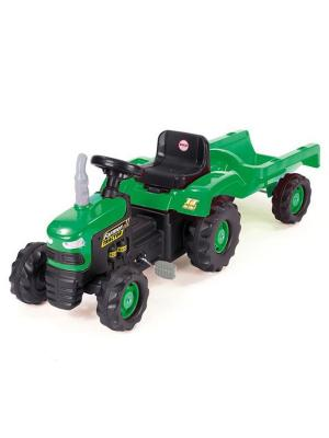 Педальный трактор зелено-черный с прицепом Dolu.. Цвет: зеленый