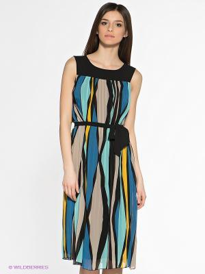 Платье SAVAGE. Цвет: синий, черный, бежевый, желтый