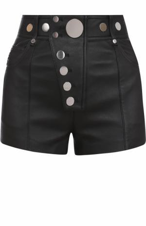 Кожаные мини-шорты с завышенной талией Alexander Wang. Цвет: черный