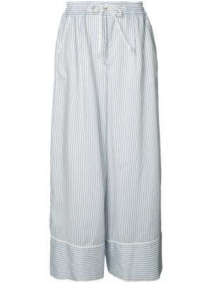 Широкие брюки в полоску Sacai. Цвет: синий
