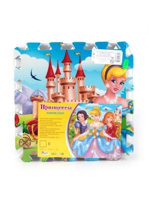 Коврик-пазл Играем вместе Принцессы 8 сегментов, каждый 31.5*31.5 см.. Цвет: голубой, зеленый, коричневый
