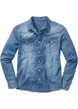 Джинсовая рубашка с длинными рукавами (голубой выбеленный «потертый») bonprix. Цвет: голубой выбеленный «потертый»