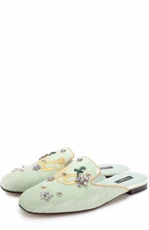 Бархатные сабо с вышивкой и кристаллами Dolce & Gabbana. Цвет: светло-зеленый