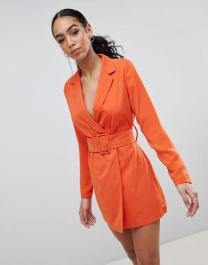 Missguided Платье-блейзер с поясом. Цвет: оранжевый