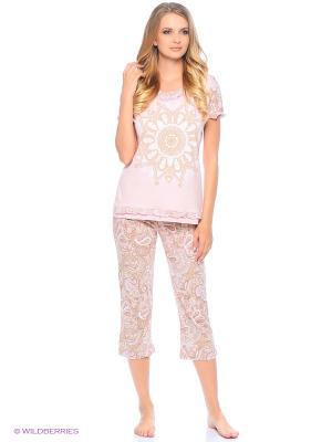 Комплект домашней одежды ( футболка, бриджи) HomeLike. Цвет: бежевый, розовый