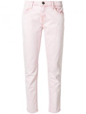 Укороченные джинсы прямого кроя Current/Elliott. Цвет: розовый и фиолетовый