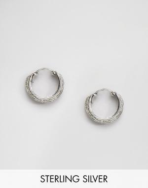 Kingsley Ryan Серебряные серьги‑кольца с гравировкой. Цвет: серебряный