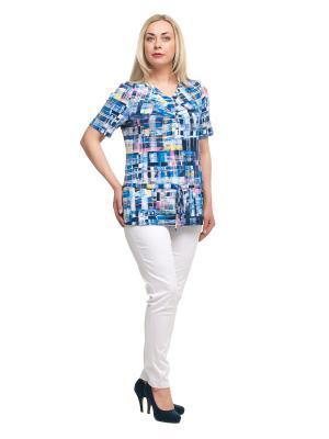 Блузка OLSI. Цвет: темно-синий, белый, голубой