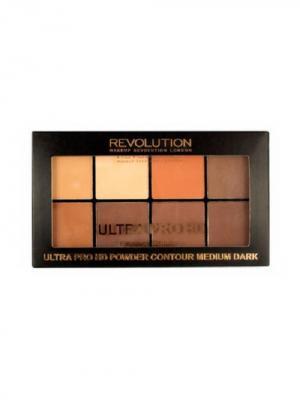 Пудровая палетка для контурирования HD Pro Powder Contour Medium Dark MakeUp Revolution. Цвет: темно-коричневый, коричневый, светло-коричневый