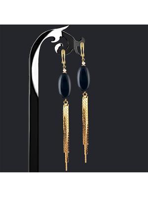 Серьги Jana Duff М12334 цвет черный, золотой. Цвет: черный