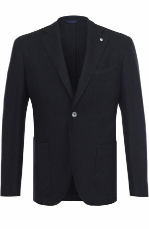 Однобортный пиджак из смеси хлопка и шерсти L.B.M. 1911. Цвет: темно-синий