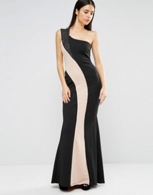 Jessica Wright Монохромное платье макси на одно плечо. Цвет: черный