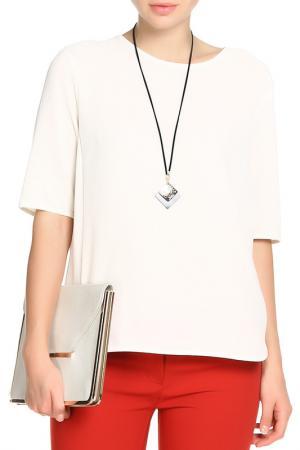 Блуза с бусами Mees. Цвет: бежевый