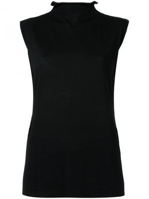 Джемпер  без рукавов с отворотной горловиной Nehera. Цвет: чёрный