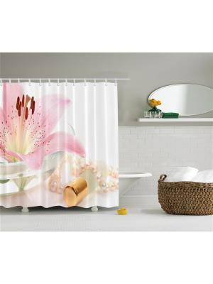 Фотоштора для ванной Розовая лилия и жемчуг, очки со стразами, разноцветные ягоды, цветы птицы, Magic Lady. Цвет: розовый, бежевый, белый, желтый