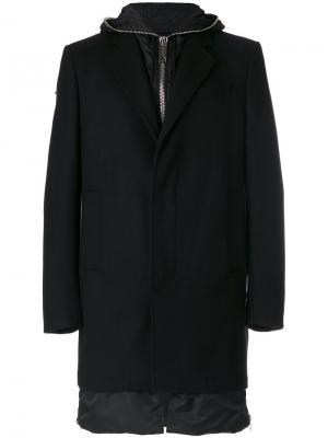 Классическое приталенное пальто Les Hommes. Цвет: чёрный