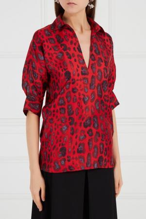 Красная блузка из шелка Adolfo Dominguez. Цвет: красный