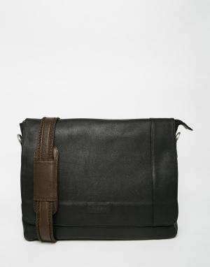 Racing Green Кожаная сумка почтальона. Цвет: черный