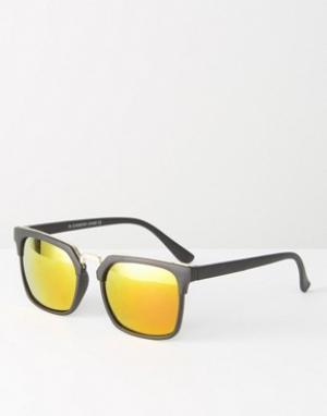 7X Квадратные солнцезащитные очки с зеркальными стеклами. Цвет: черный