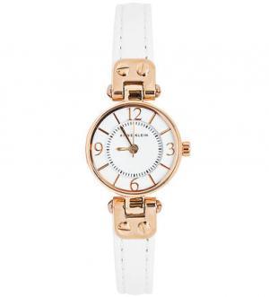 Часы с тонким белым ремешком Anne Klein