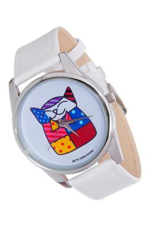 Часы Лоскутная кошка MITYA VESELKOV. Цвет: белый