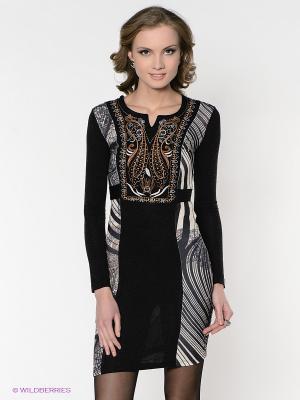 Платье FRENCH HINT. Цвет: черный, коричневый, белый