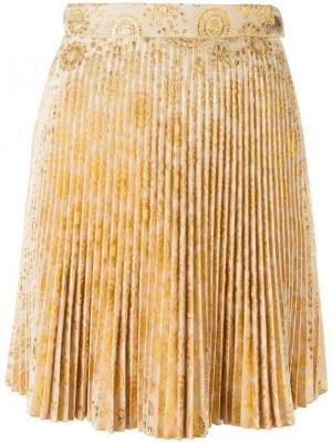 Плиссированная юбка мини Antonio Berardi. Цвет: жёлтый и оранжевый
