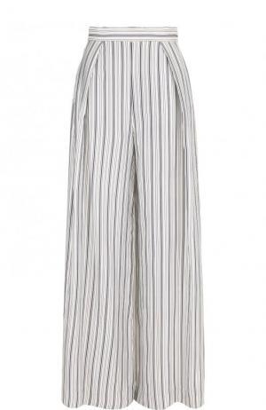 Расклешенные брюки в полоску с защипами Zimmermann. Цвет: голубой