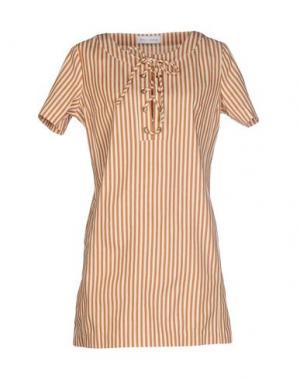 Короткое платье WEILI ZHENG. Цвет: коричневый