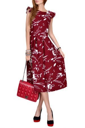 Приталенное платье-миди с рукавами Крылышки Patricia B.. Цвет: красный