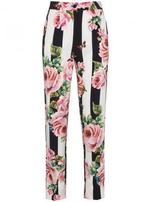 Полосатые брюки с розами Dolce & Gabbana. Цвет: чёрный