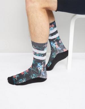Stance Черные носки в полоску с цветочным принтом Geisha. Цвет: черный