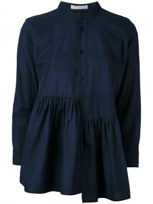 Асимметричная рубашка с оборками Peter Jensen. Цвет: синий