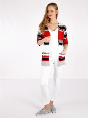 Кардиган Gallant Touch. Цвет: красный, белый, черный