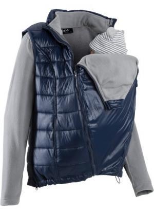 Флисовая куртка для беременных с жилетом и карманом-вкладкой малыша (темно-синий/серый меланж) bonprix. Цвет: темно-синий/серый меланж