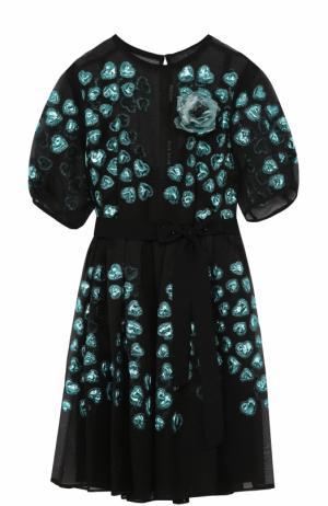 Приталенное шелковое мини-платье Elie Saab. Цвет: черный