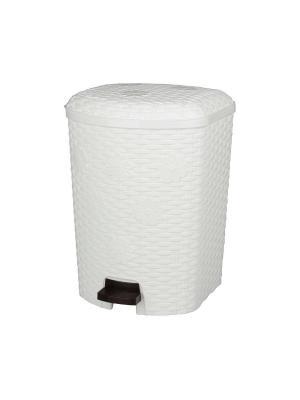Контейнер для мусора Плетёнка 12л. с педалью (белый) Альтернатива. Цвет: белый
