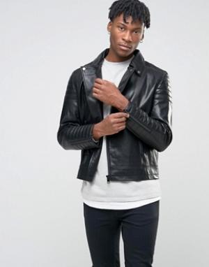 BL7CK Шерстяная байкерская куртка. Цвет: черный