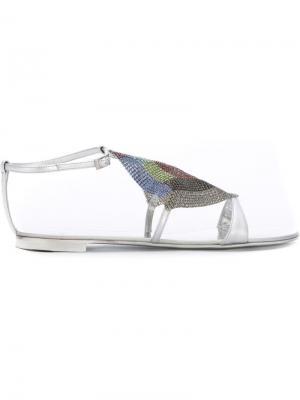 Декорированные сандалии Giuseppe Zanotti Design. Цвет: металлический