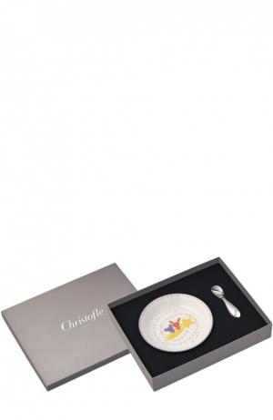 Детский набор: тарелка с ложкой Galaxie & Confetti Christofle. Цвет: бесцветный