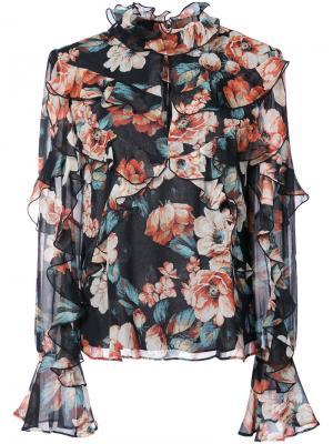Блузка с цветочным принтом Lola Nicholas. Цвет: чёрный