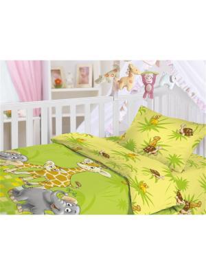 Комплект постельного белья, ясли, наволочка 40*60см, ткань-бязь, хлопок-100%, Джунгли Волшебная ночь. Цвет: зеленый, желтый