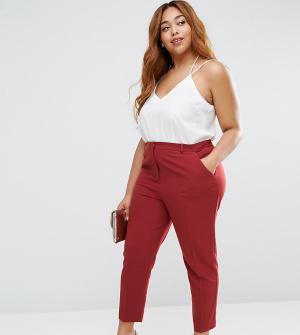 ASOS Curve Укороченные креповые брюки-сигареты. Цвет: фиолетовый
